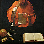 La Tour, Georges de -- Saint Jerome lisant-Saint jerome reading. Copy of a lost original. Canvas, 122 x 93 cm R.F. 3928, Part 1 Louvre