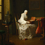 Chardin, Jean-Baptiste Simeon -- La serinette, dit aussi Dame variant ses amusements-a serinette is a small mechanical organ used to teach birds to sing; also: Lady with a variety of amusements. Canvas, 50 x 43 cm R.F. 8510, Part 1 Louvre