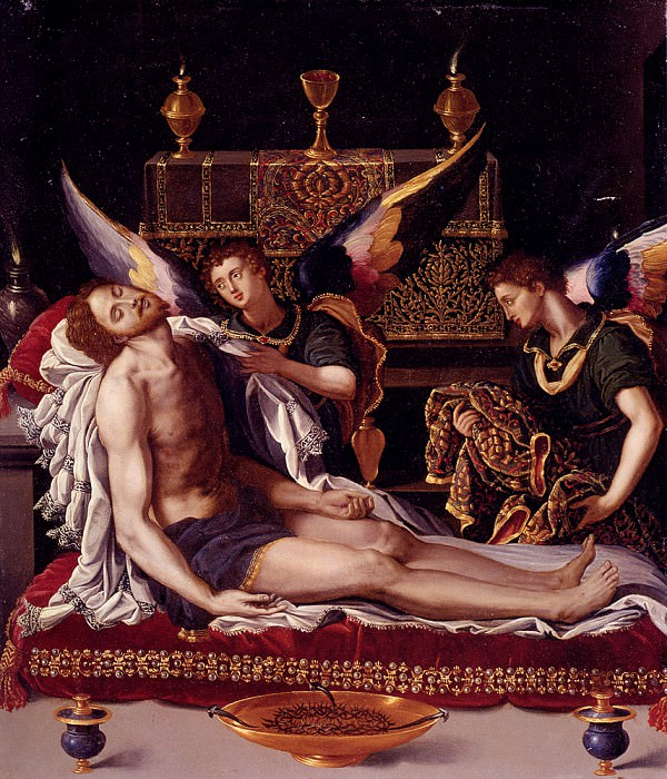 Dead Christ Attended By Two Angels. Alessandro Allori