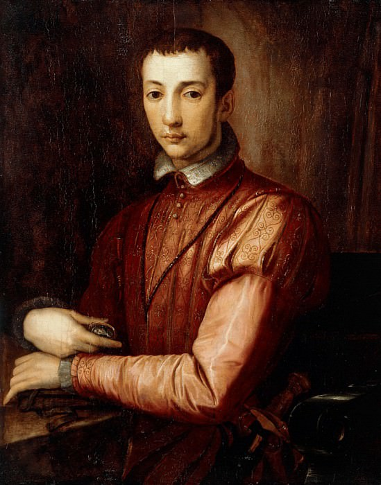 Portrait of Francesco I d'Medici (1541-1587) seated half-length, wearing a Doublet. Alessandro Allori