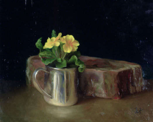 Silver Cup with Primroses. Juliette Aristides