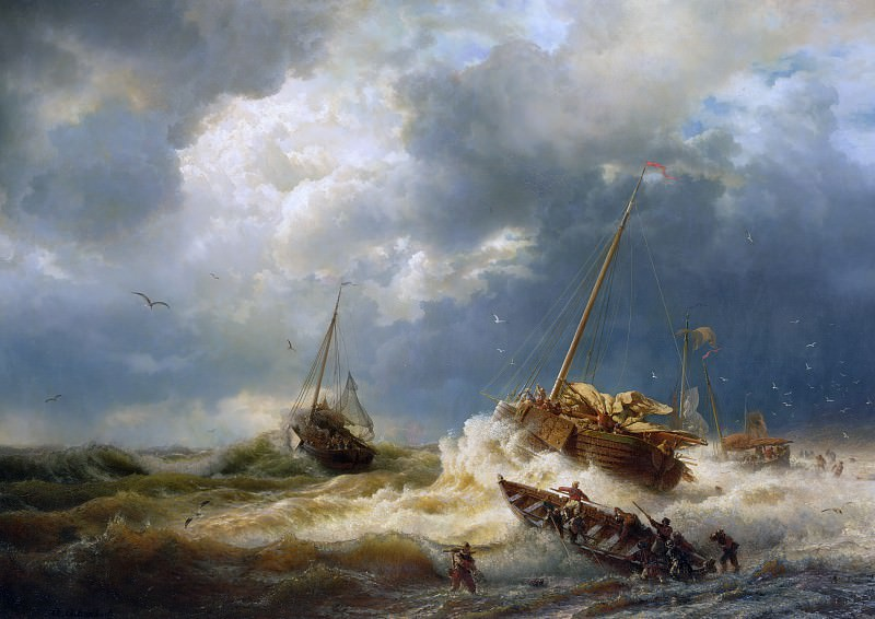 Ships In A Storm On The Dutch Coast. Andreas Achenbach