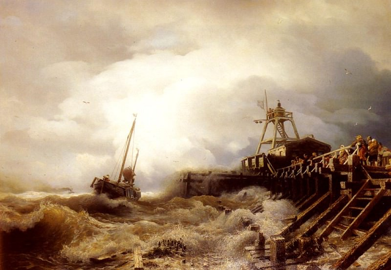 A Fishing Boat Caught In A Squall Off A Jetty. Andreas Achenbach