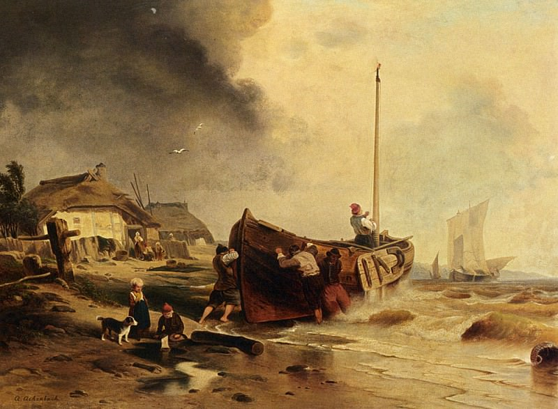 A Fishingboat On The Beach. Andreas Achenbach