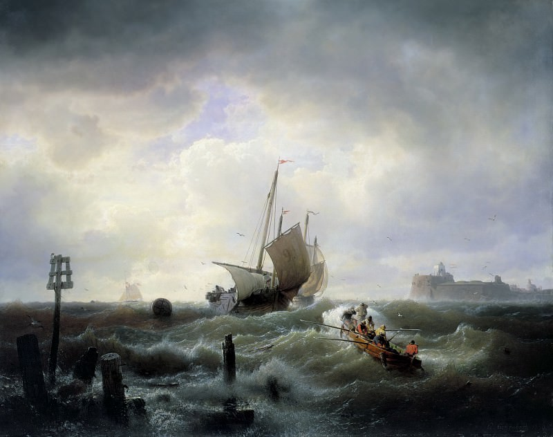 The Entrance to the Harbour at Hellevoetsluys. Andreas Achenbach