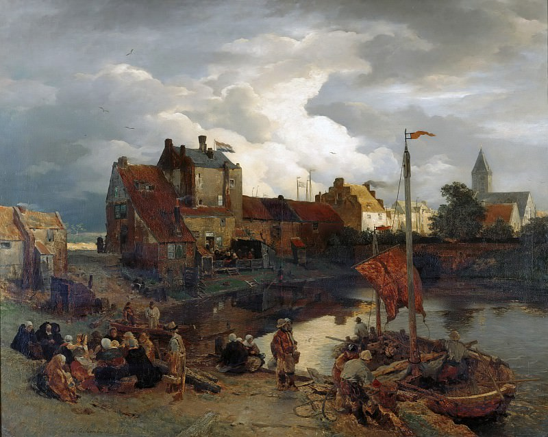 In the port of Ostend. Andreas Achenbach