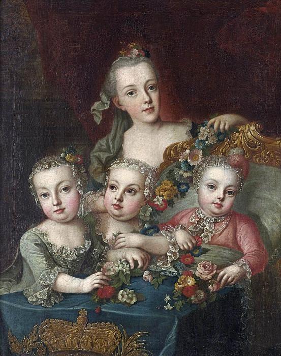Portrait of the children of the Austrian Empress Maria Theresa — Aleksey  Antropov