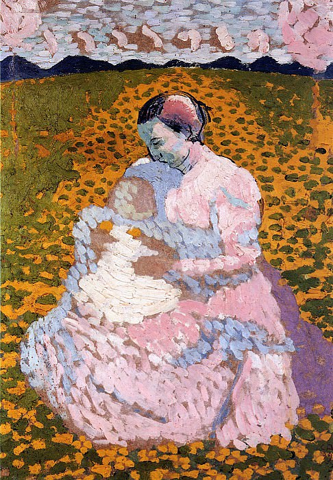 Mother and child on a meadow. Cuno Amiet