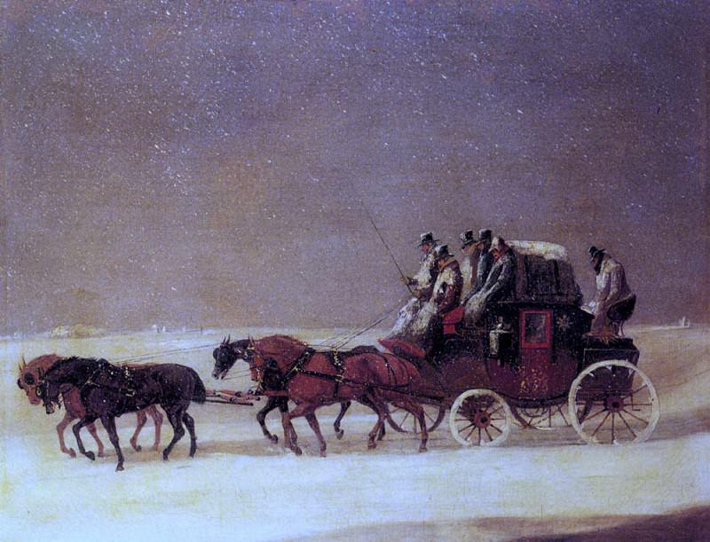 Дерби и Лондонская королевская почта на дороге зимой. Генри Томас Алкен