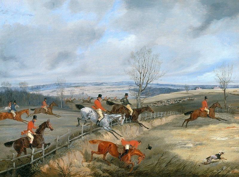 Сцена охоты - Пересечение ограждения. Генри Томас Алкен