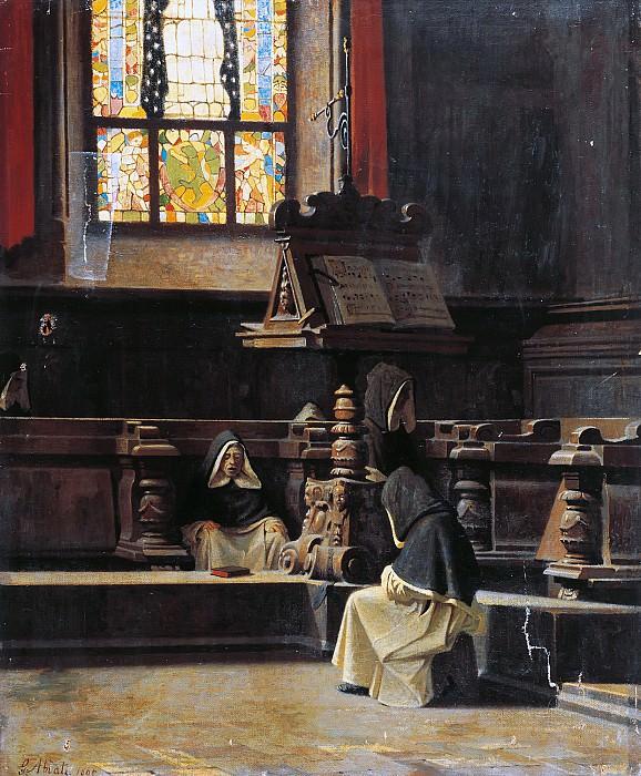 Inside the sacristy with monks. Giuseppe Abbati