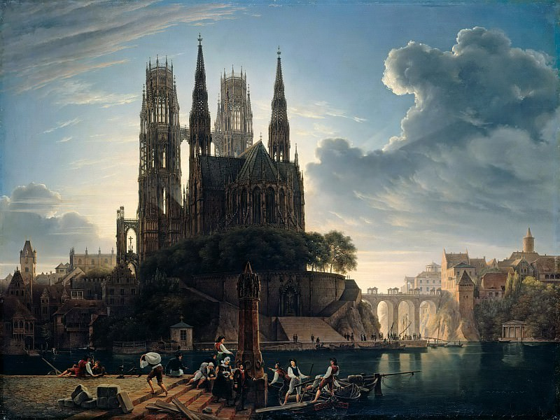 Gothic Catherdral on the Water. August Wilhelm Julius Ahlborn