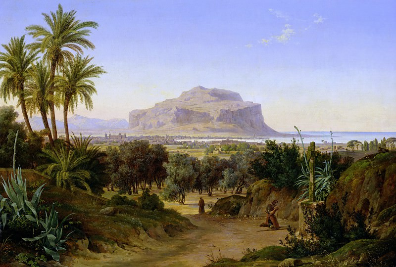 View of Palermo with Mount Pellegrino. August Wilhelm Julius Ahlborn