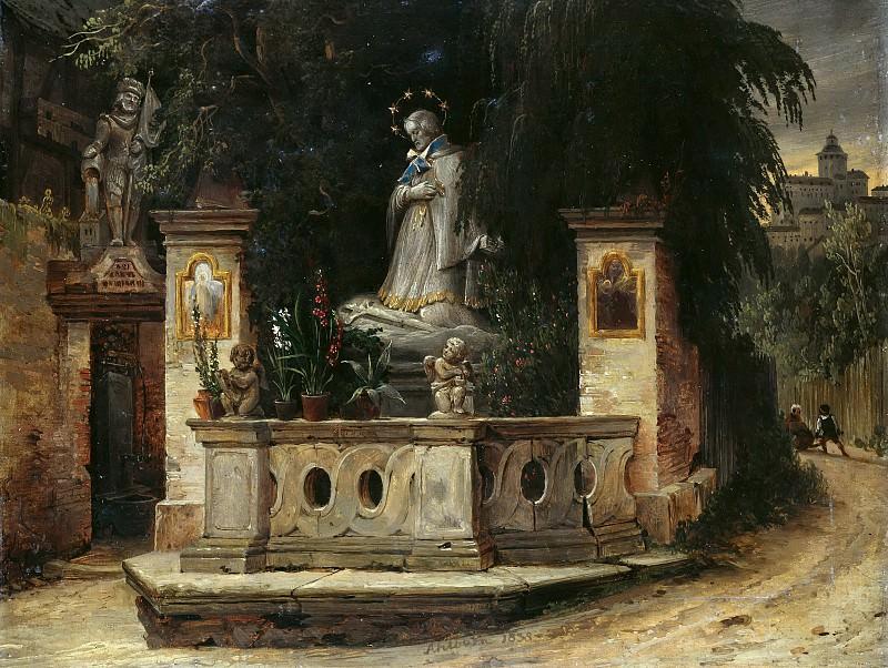Улочка со статуей святого Карло Борромео. Август Вильгельм Юлиус Альборн