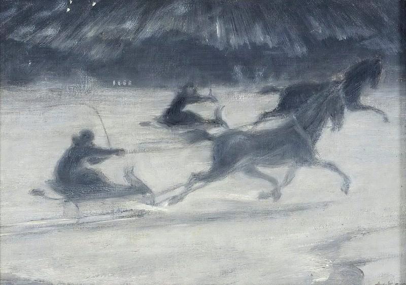 Гонки на льду. Иллюстрация для короткой истории Пер Хеллстрема. Йохан Аксель Густав Ак