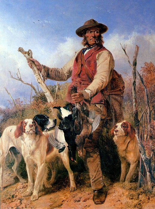 Gamekeeper with dogs Sun. Richard Ansdell