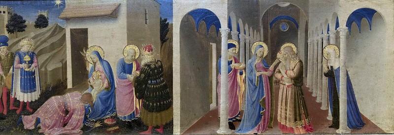 Кортонский алтарь - Благовещение, пределла - Поклонение волхвов и Принесение Христа во храм. Фра Анджелико