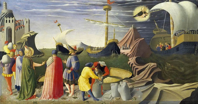 Perugia Altarpiece, predella - St Nicholas saves the ship. Fra Angelico