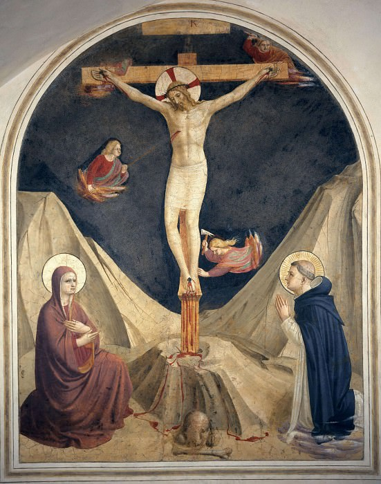 23 The crucified Christ with Mary and Saint Dominic. Fra Angelico