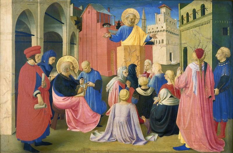 Табернакль Линайоли, пределла - Святой Петр проповедует в присутствии святого Марка. Фра Анджелико
