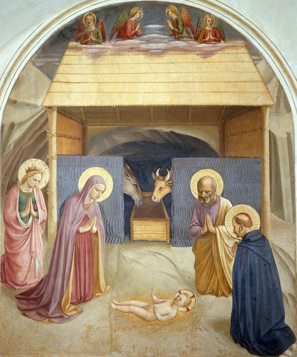 05 Birth of Christ, with the Saints Catherine of Alexandria and Peter the Martyr. Fra Angelico
