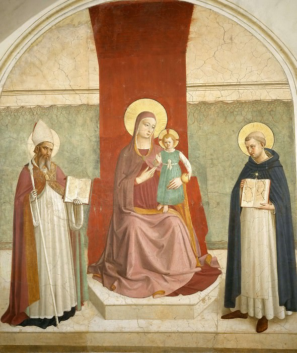 11 Mary with Child and Saints Augustinus and Thomas of Aquin. Fra Angelico