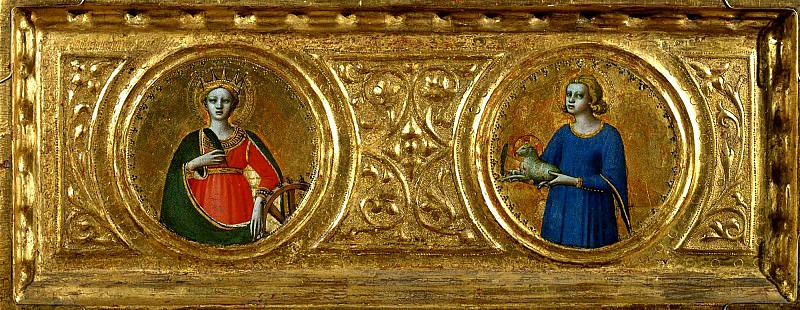 St Peter Martyr Altarpiece, predella - Saints Catherine of Alexandria and Agnes. Fra Angelico