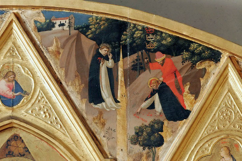 St Peter Martyr Altarpiece, detail - The murder of St. Peter Martyr. Fra Angelico