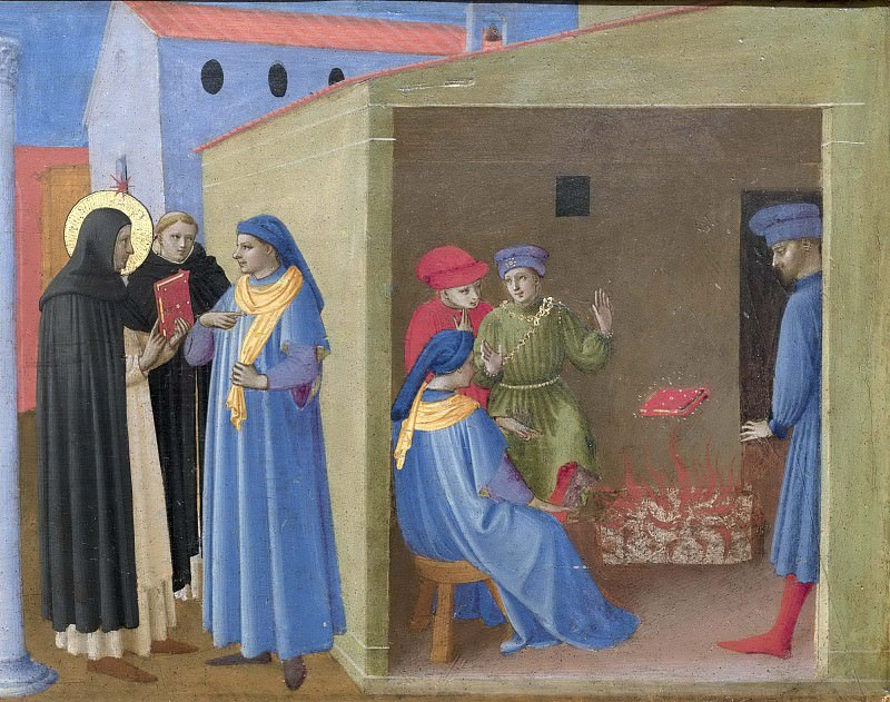 7 Кортонский полиптих, пределла - Диспут святого Доминика с еретиками и Чудо с Книгой. Фра Анджелико