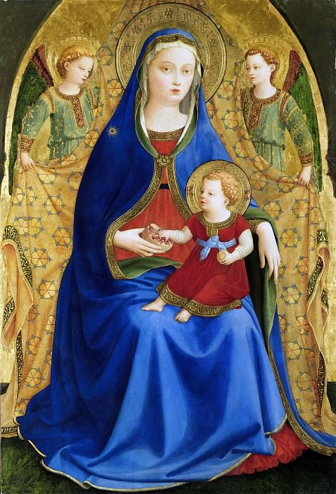 Madonna with the Child and two angels or Madonna of the pomegranate. Fra Angelico