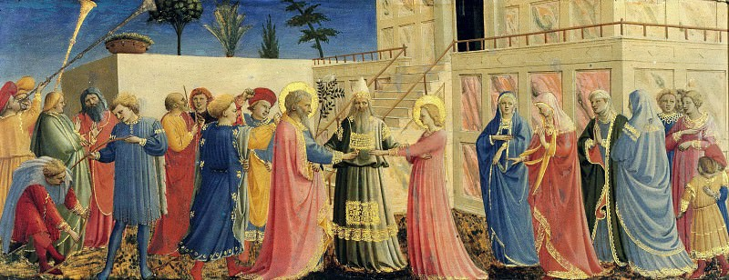 Coronation of the Virgin, predella - The Marriage of the Virgin. Fra Angelico