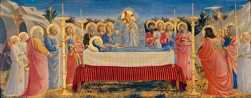 Коронование Девы Марии со святыми и ангелами, пределла - Успение Богоматери. Фра Анджелико