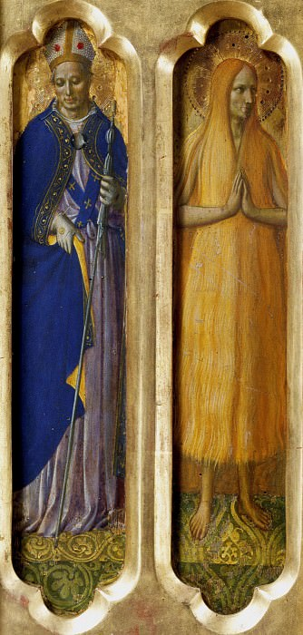 Perugia Altarpiece - St Louis of Toulouse and Mary of Egypt. Fra Angelico