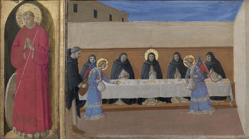 8 Cortona Polyptych, predella - St Vincent, The angels serve dinner to the friars. Fra Angelico