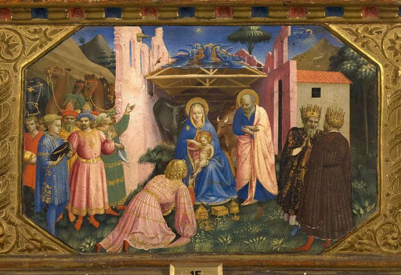 The Annunciation Altarpiece, predella 3 - Adoration of the Magi. Fra Angelico