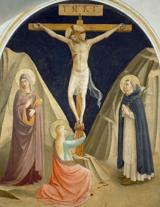 25 Christ on the cross, with Mary, Mary Magdalene and Saint Dominic. Fra Angelico
