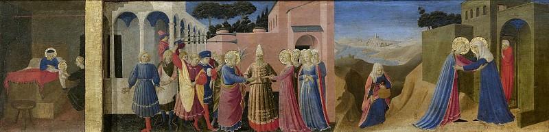 Cortona Altarpiece - Annunciation, predella - Birth of the Virgin, Marriage of the Virgin, Visitation. Fra Angelico