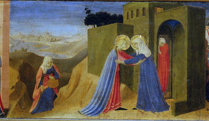 Кортонский алтарь - Благовещение, пределла - Встреча Марии и Елизаветы. Фра Анджелико