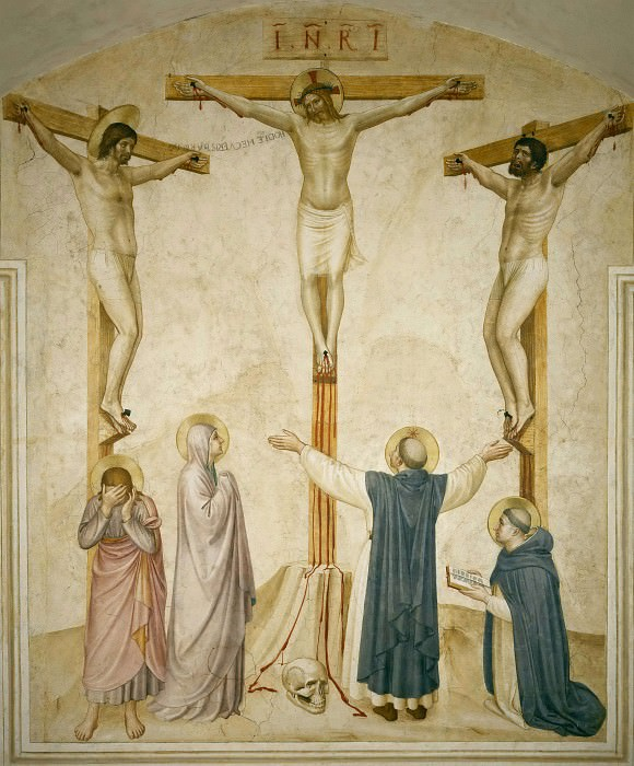 37 Crucifixtion with the saint Dominic and Thomas of Aquinus. Fra Angelico