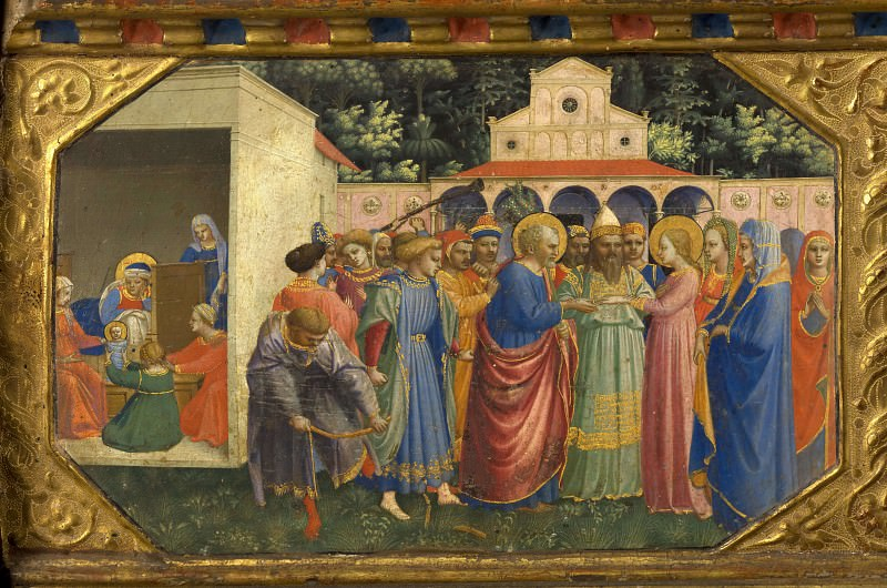 The Annunciation Altarpiece, predella 1 - Nativity and Betrothal of the Virgin Mary. Fra Angelico