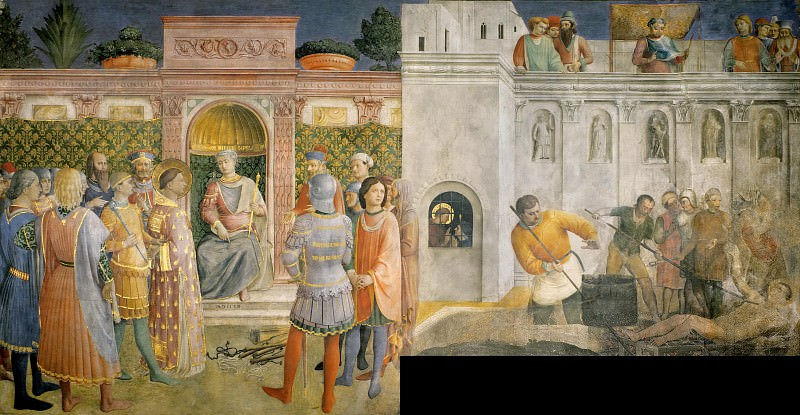 Condemnation of St. Lawrence by the Emperor Valerian and Martyrdom of St. Lawrence. Fra Angelico