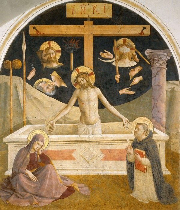 26 Christ in his tomb, with Mary a. Saint Dominic and the instruments of suffering. Fra Angelico