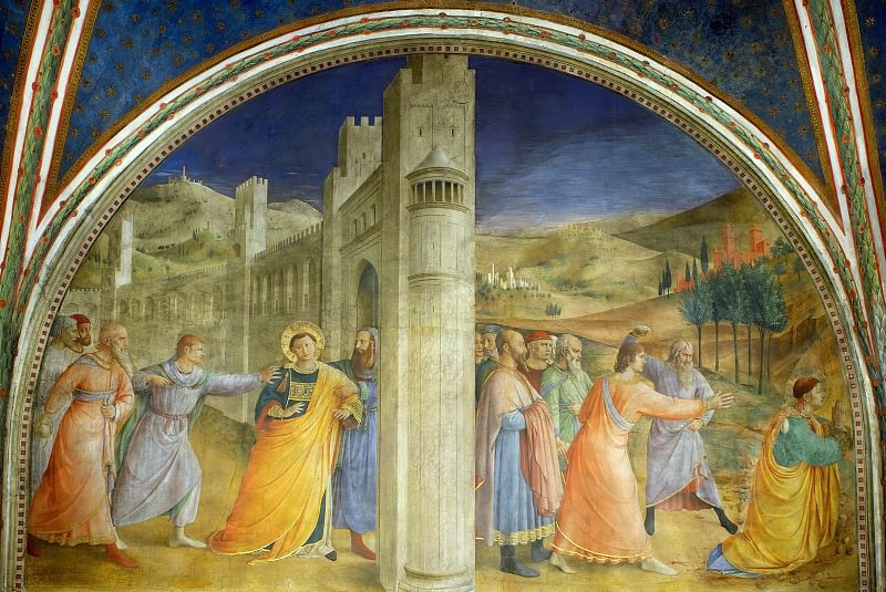 St. Stephen Being Led to his Martyrdom and The stoning of Stephen. Fra Angelico