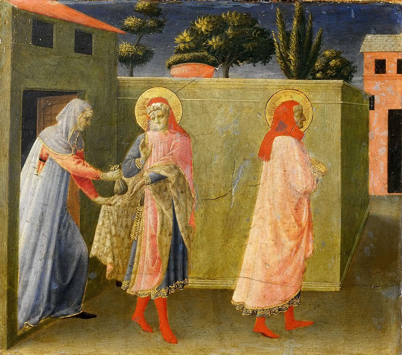 Алтарь Анналена, пределла - Святые Косьма и Дамиан получают вознаграждение за спасение Палладии. Фра Анджелико