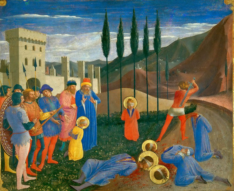 San Marco altarpiece, predella - Beheading of Saint Cosmas and Saint Damian. Fra Angelico