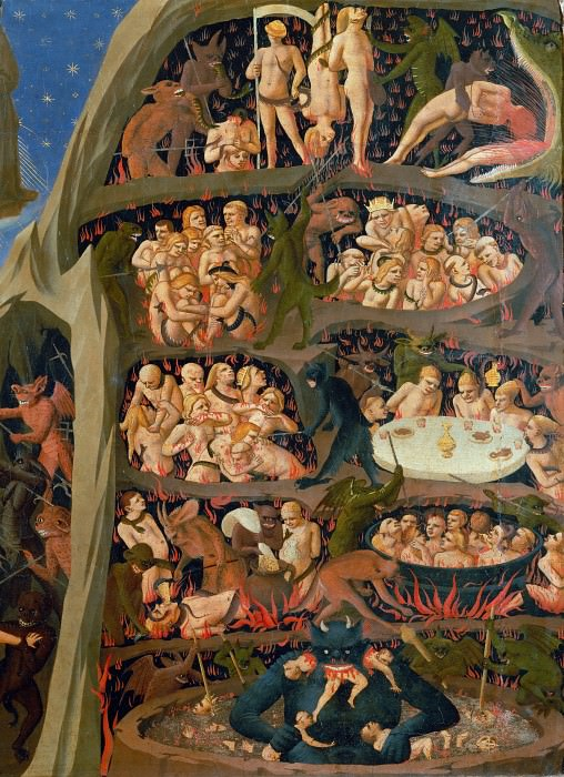 The Last Judgement, detail - The damned in hell. Fra Angelico