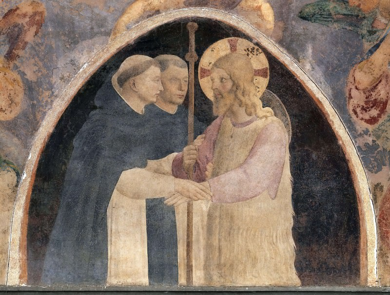 Christ as a pilgrim with two Dominican monks. Fra Angelico