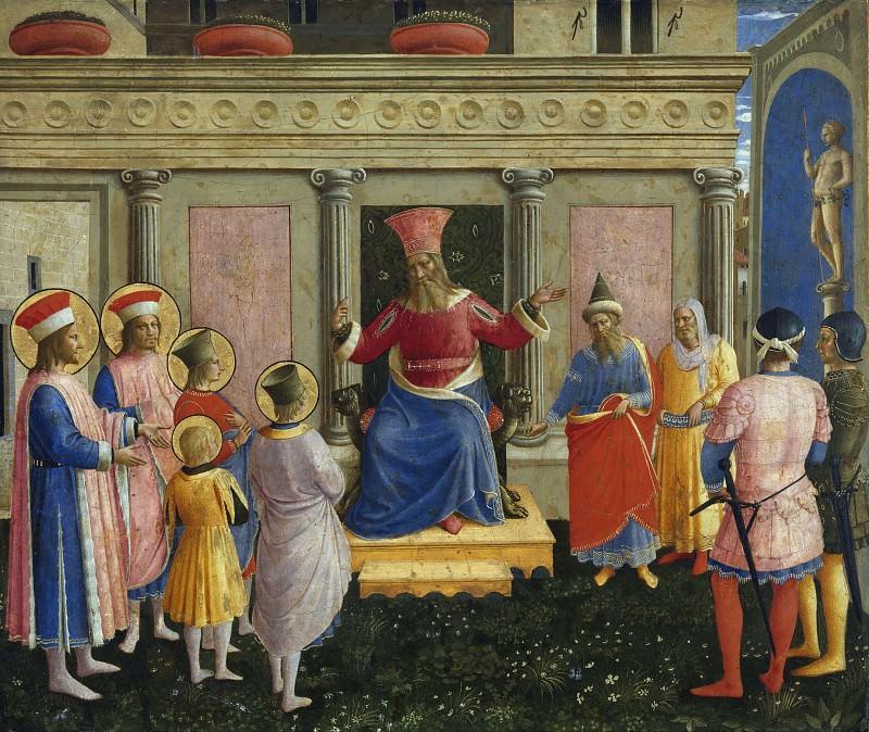 San Marco altarpiece, predella - Saint Cosmas and Saint Damian before Lisius. Fra Angelico