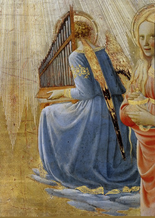 Coronation of the Virgin, detail - Angels playing music. Fra Angelico