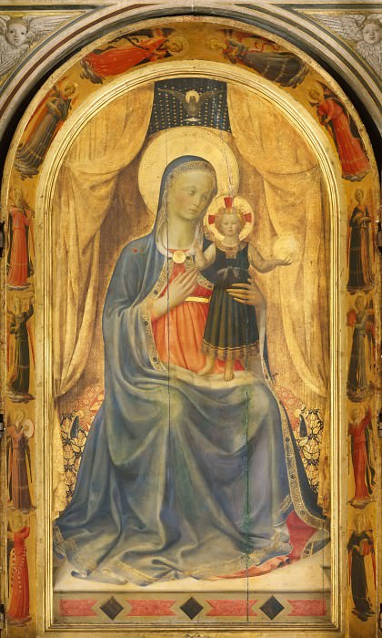 Linaioli Tabernacle, central part - Madonna and Child. Fra Angelico
